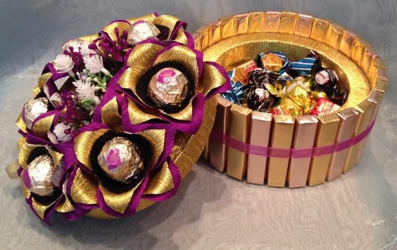 Красивая шкатулка из конфет