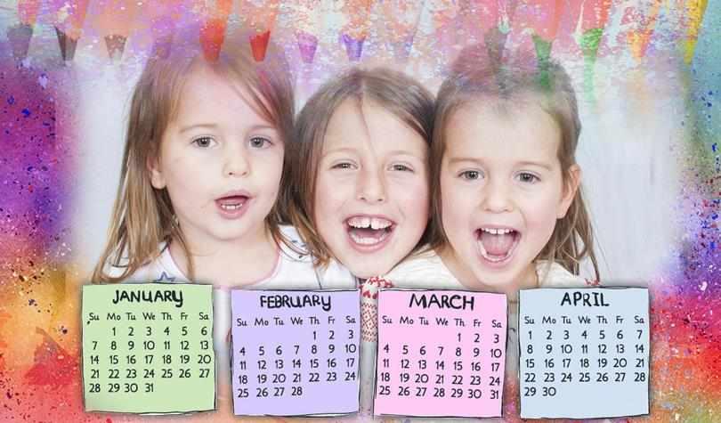 Фото любимых внуков на календаре