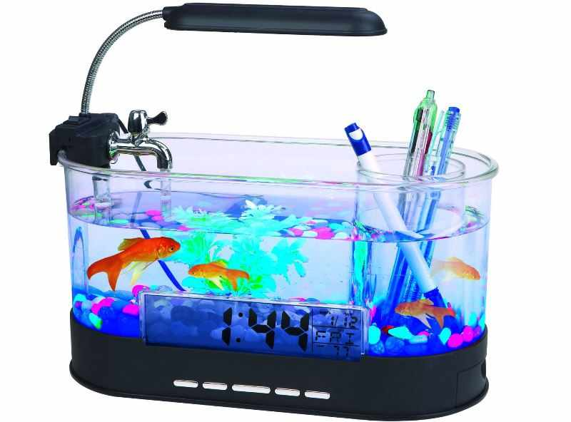 Мини-аквариум с подставкой для канцтоваров и с подсветкой