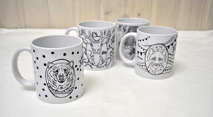 чашка с оригинальным рисунком