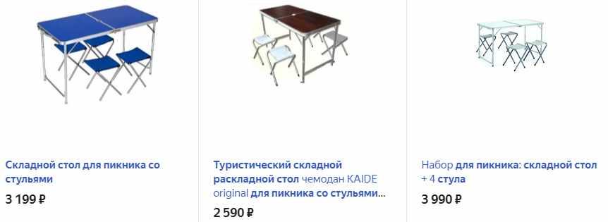 Складной стол со стульчиками для пикника