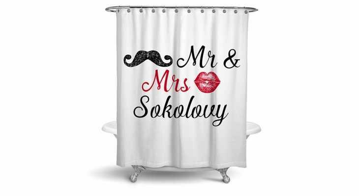 Именная шторка для ванной «Mr & Mrs»