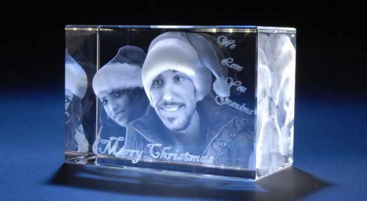Лазерные фото на кристалле 3D