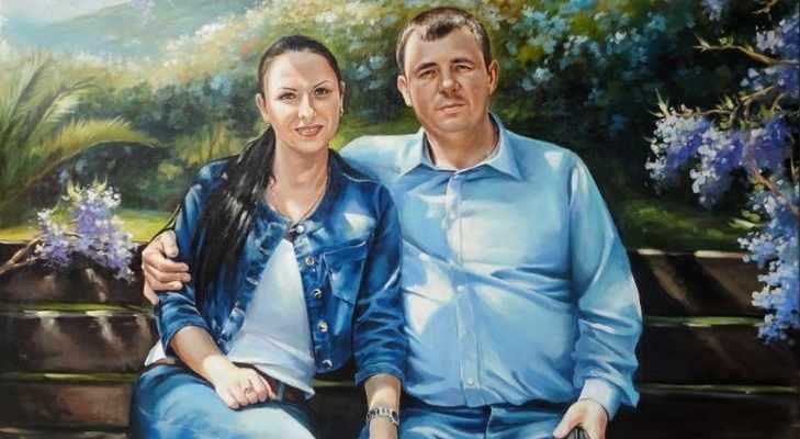 Портрет семьи на холсте